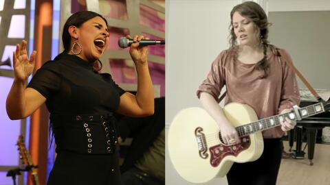 (Left:) Tejano singer Elida Reyna sings a cover of Jesse Y Joy's pop sin...
