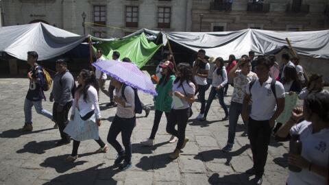 Una manifestación en contra de la violencia en Nochixtlán,...