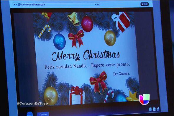 ¡Uyyy Nando! Mira lo que recibiste, una tarjeta de Navidad. ¿Y de quién...