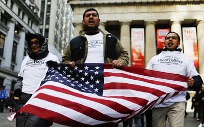 Dreamers durante una protesta en Nueva York