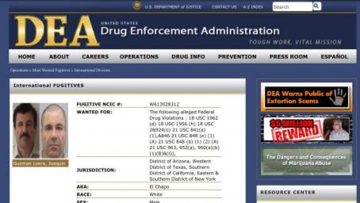 La ficha de la DEA donde aparece El Chapo Guzmán