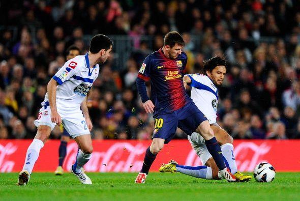 Messi inició la jugada de su gol, que completó con una pared.