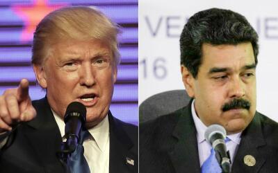 El presidente de EEUU, Donald Trump, y el presidente venezolano Nicol&aa...