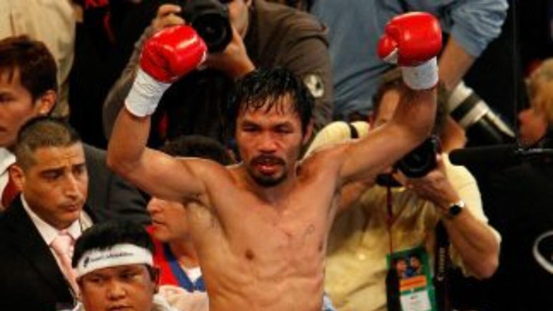 Manny Pacquiao celebra su victoria sobre Antonio Margarito