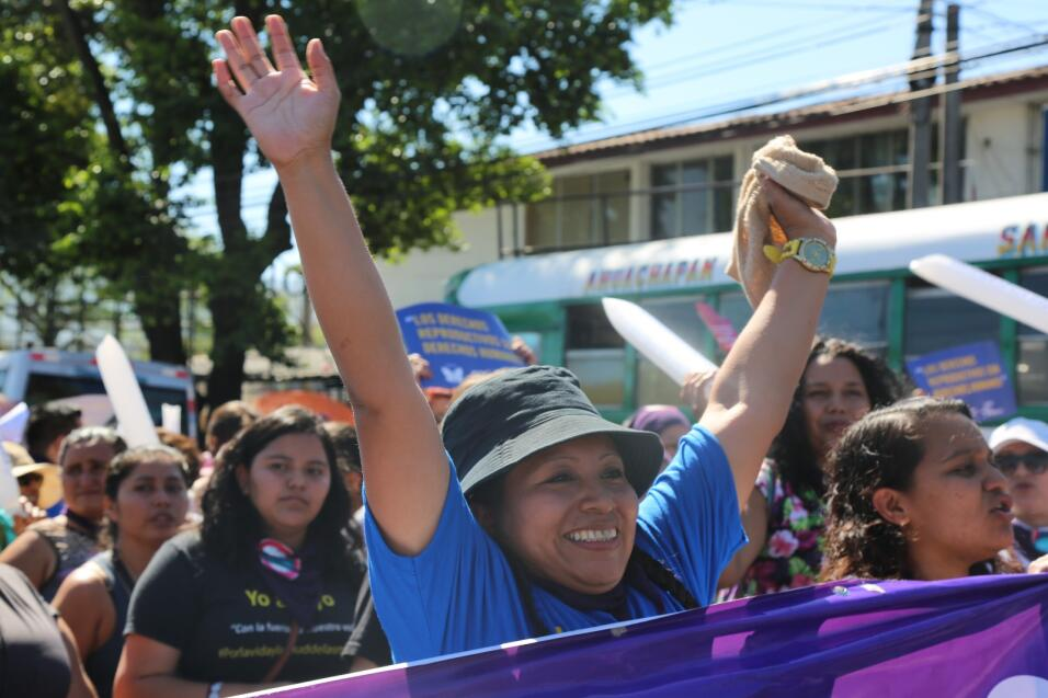 Teodora del Carmen Vásquez encabezó la protesta de este jueves en San Sa...