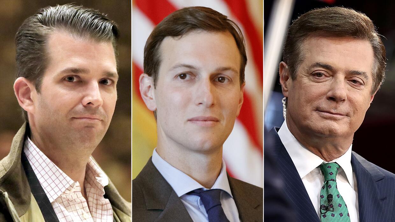 El hijo mayor del presidente Donald Trump Jr (izquierda), el yerno del m...
