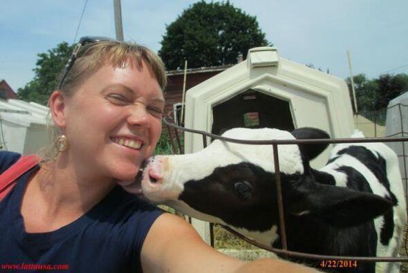 Esta mujer sí celebró el día de la Tierra con un buen beso de su becerro...