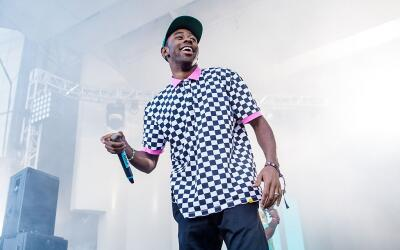Tyler, The Creator performs on stage at the Lollapalozza music festival...