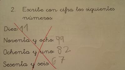 El profesor tachó con una cruz el problema matemático.