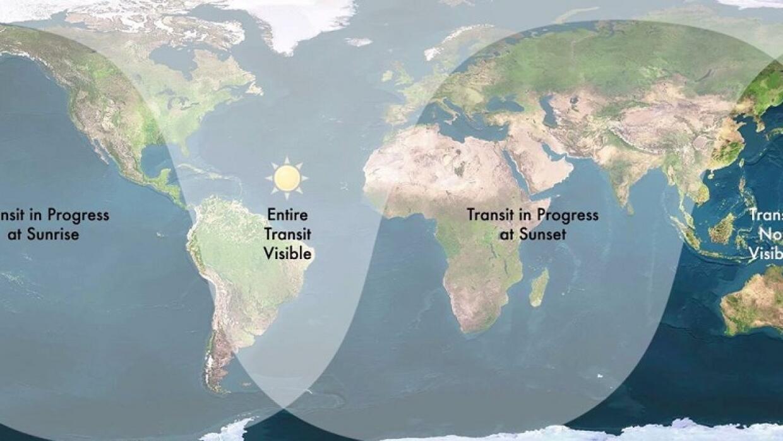 Mapa de dónde se podrá ver el paso de Mercurio frente al Sol