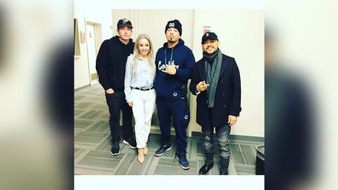 (Left to right: Morning show hosts DJ Automatic and Dana Cortez pose for...