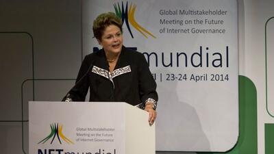La presidenta de Brasil durante la ceremonia inaugural del evento NET Mu...