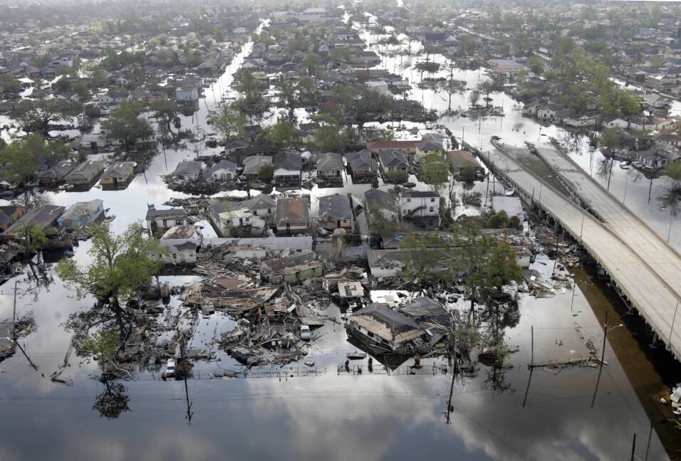 Areas of the Ninth Ward in New Orleans are still flooded after Hurricane...