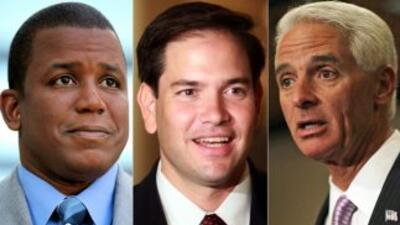 Meek (izq.), Rubio (centro) y Crist protagonizan una reñida y controvers...