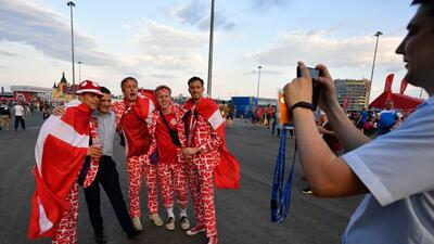 La alegría dividida entre los hinchas de Croacia y Dinamarca en los octavos de final