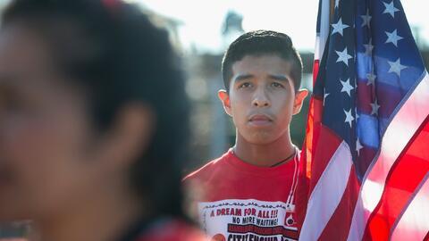 Inmigrantes indocunmentados durante una manifestación en Des Moin...