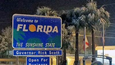 Anuncio de bienvenida a Florida luego del paso del frente de nieve.