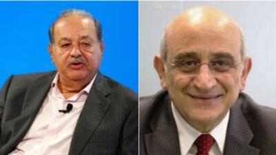El empresario mexicano Carlos Slim (izquierda) y el colombiano Germán Ef...