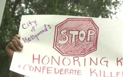 Letreros en contra de nombres de confederados en las calles de Hoollywoo...