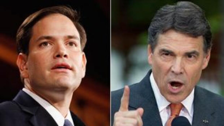 El senador Marco Rubio (republicano de Florida) (izquierda) y el goberna...