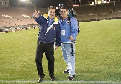El presidente Fiore con el camarógrafo estrella, Iván Rodríguez.