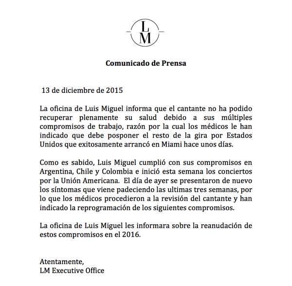 Comunicado de prensa Luis Miguel
