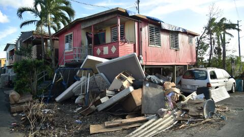 Muebles destruidos en una calle de Juana Matos, Catano, Puerto Rico, dos...