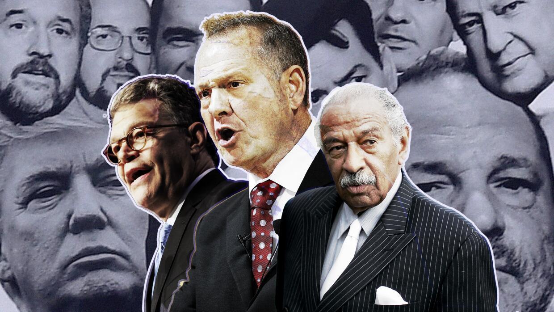 Al Franken, Roy Moore, John Conyers, en el primer plano de una composici...