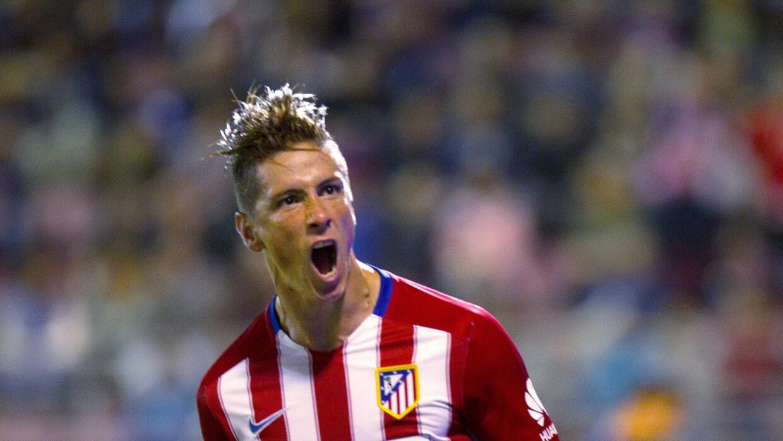 Fernando Torres celebra un gol con el Atlético Madrid