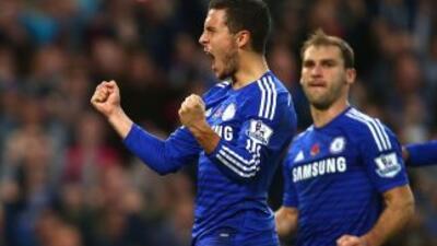 Eden Hazard celebra su gol contra QPR.