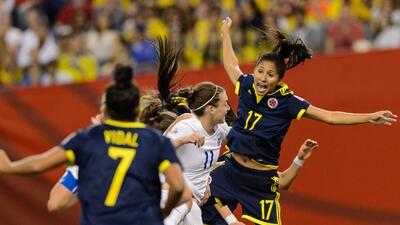 momento del partido Colombia contra Inglaterra en Canadá.