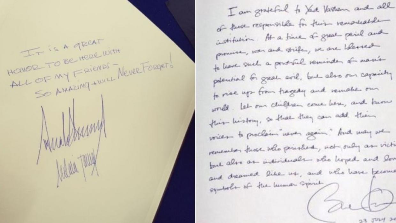 Los mensajes de Barack Obama y de Donald Trump en el Monumento al Holoca...