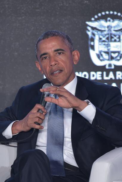 Barack Obama también participó y dio un discruso más temprano en el marc...